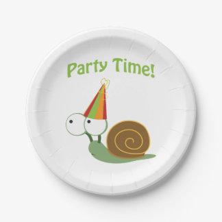 Caracol lindo del tiempo del fiesta plato de papel 17,78 cm