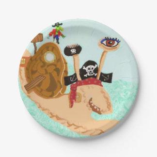 Caracol Magrid del pirata y loro SillySally Plato De Papel De 7 Pulgadas