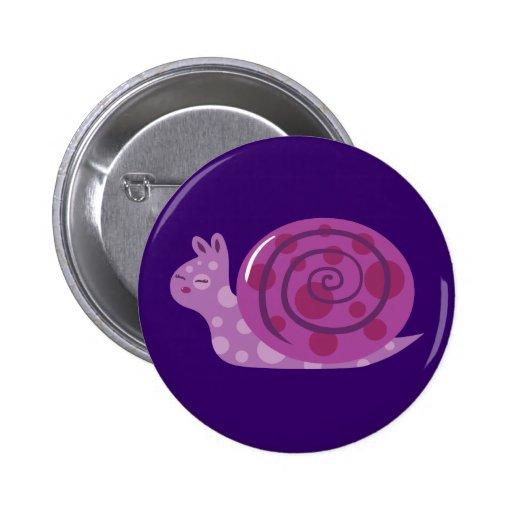 Caracol manchado púrpura pin redondo de 2 pulgadas