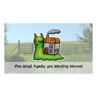 Caracol móvil de la invitación de la casa tarjetas de visita