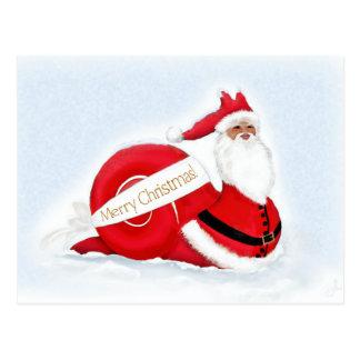Caracol Papá Noel contra un fondo Nevado Tarjetas Postales
