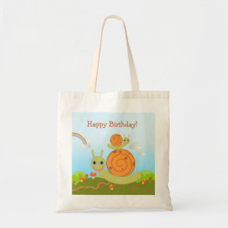 Caracol que desea feliz cumpleaños bolsa tela barata