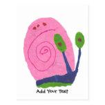 Caracol rosado del dibujo animado postal