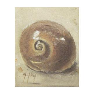 Caracol Shell de Moonshell de la playa del Seashel Impresión En Lona Estirada