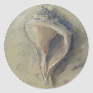 Caracol Shell del bucino de la playa del Seashell Pegatina Redonda