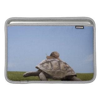 Caracol sobre una tortuga fundas macbook air