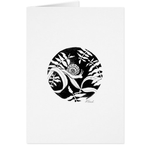 Caracol y helechos de jardín tarjeta de felicitación