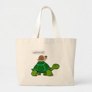 Caracol y tortuga - dúo de Turbo Bolsas Lienzo