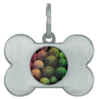 Caracoles del arco iris placas de nombre de mascota
