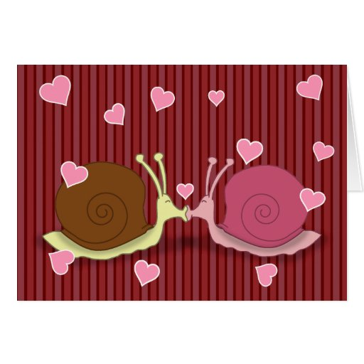Caracoles en tarjeta de felicitación del amor