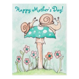 Caracoles felices del día de madre postal