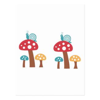 Caracoles y setas tarjetas postales