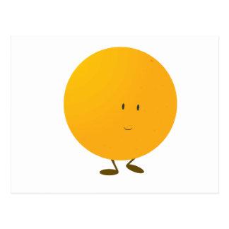 Carácter anaranjado entero sonriente tarjeta postal