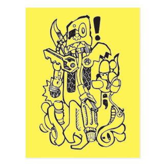 Carácter anticuado de los desperdicios/del robot tarjeta postal