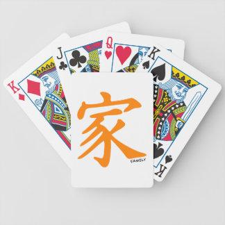 Carácter chino anaranjado para la familia baraja de cartas bicycle
