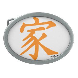 Carácter chino anaranjado para la familia hebillas cinturon ovales