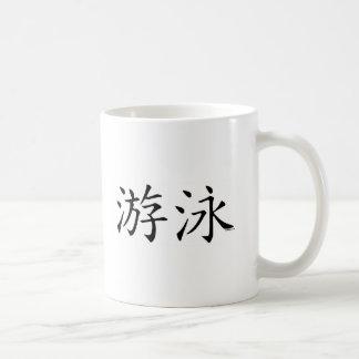 Carácter chino de la nadada taza