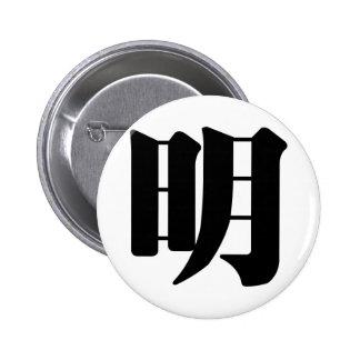 Carácter chino: el ming, significando: brillante,  pins