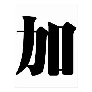Carácter chino: jia, significando: añada a, tarjeta postal