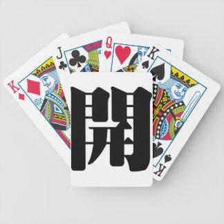 Carácter chino: kai, significando: abierto barajas de cartas