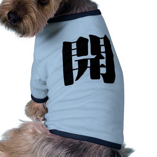 Carácter chino: kai, significando: abierto camisetas mascota