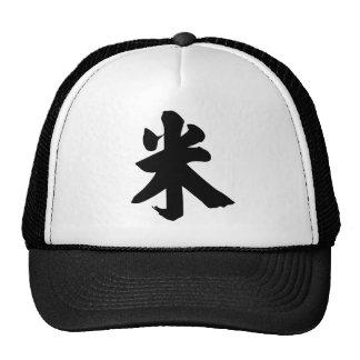 Carácter chino: mi3, significando: arroz, metro gorros