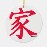 Carácter chino rojo de la familia del escarlata ornamentos de navidad