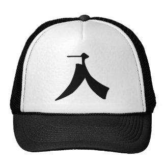 Carácter chino: ru, significando: entre gorras de camionero