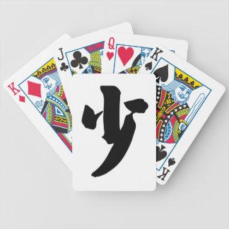 Carácter chino: shao, significando: poco, pocos, y baraja de cartas bicycle