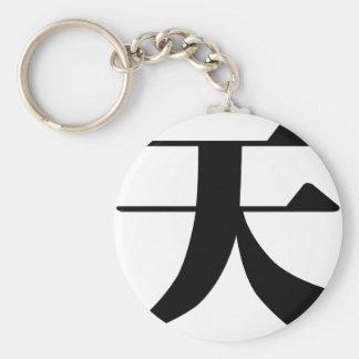 Carácter chino: tian, significando: cielo, cielo llavero redondo tipo pin