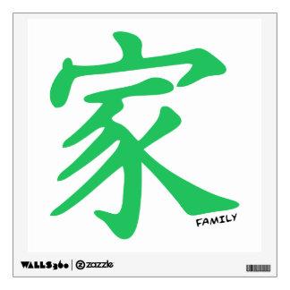 Carácter chino verde de Kelly para la familia
