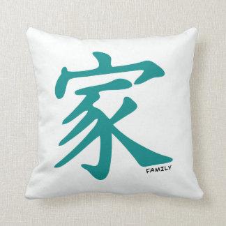 Carácter chino verde del trullo para la familia cojines