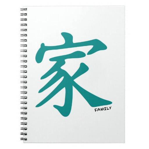 Carácter chino verde del trullo para la familia libros de apuntes