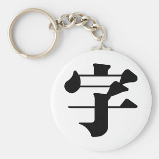 Carácter chino: zi4, significando: letra, characte llavero redondo tipo pin
