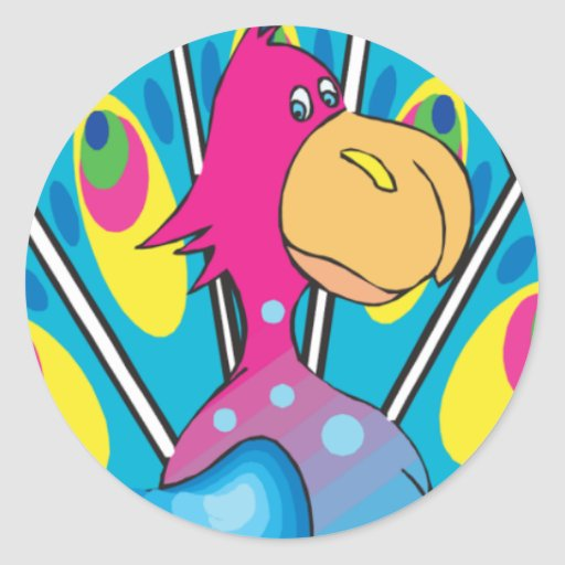 carácter colorido lindo del pavo real del dibujo pegatina redonda