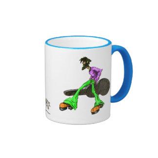 Carácter cómico del disco fresco enrrollado de la  tazas de café