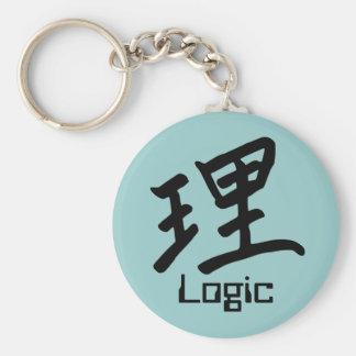 Carácter de kanji para el monograma de la lógica llavero redondo tipo pin