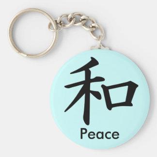 Carácter de kanji para el monograma de la paz llavero redondo tipo pin