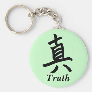 Carácter de kanji para el monograma de la verdad llavero redondo tipo pin