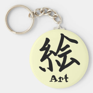 Carácter de kanji para el monograma del arte llavero redondo tipo pin