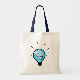 Carácter de la bombilla del dibujo animado bolsa tela barata