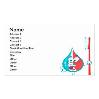 Carácter de la crema dental que sostiene un cepill plantilla de tarjeta de visita