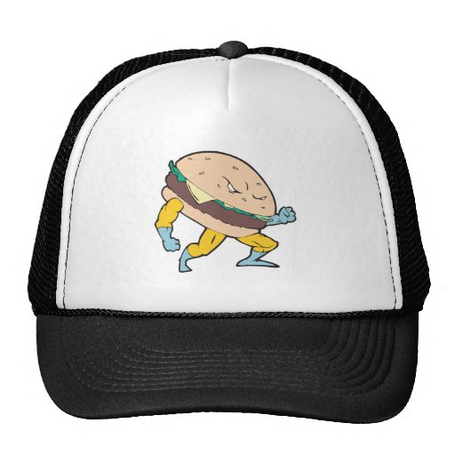 carácter de la hamburguesa del cheeseburger del su gorras