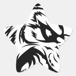 Carácter de la mascota del tigre calcomanías forma de estrellaes personalizadas