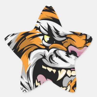 Carácter de la mascota del tigre calcomanías forma de estrellaes