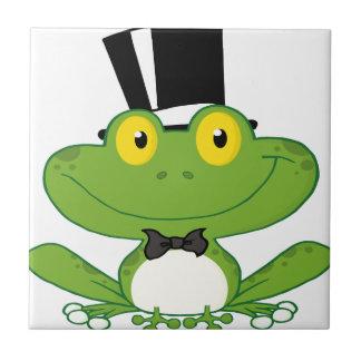 Carácter de la rana del novio del dibujo animado azulejo cuadrado pequeño