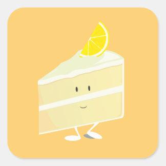 Carácter de la rebanada de la torta del limón pegatina cuadrada