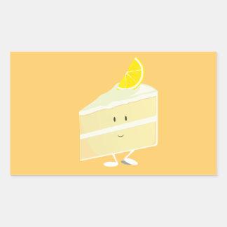 Carácter de la rebanada de la torta del limón pegatina rectangular