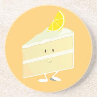 Carácter de la rebanada de la torta del limón posavasos personalizados