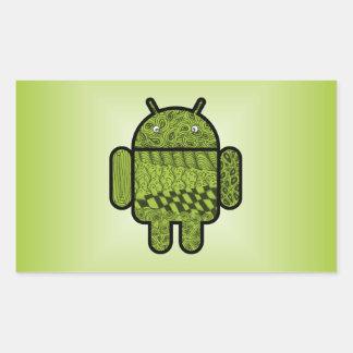 Carácter de Paisley para el robot de Android™ Rectangular Pegatinas